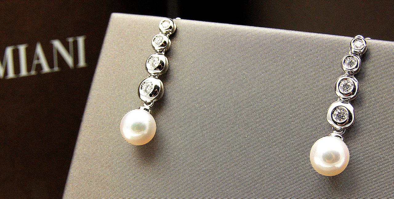 new product 6bdfa 8b494 Damiani. Orecchini perle e brillanti.