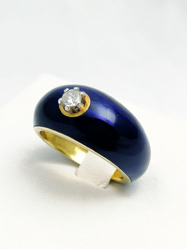 Anello smaltato oro giallo e brillante